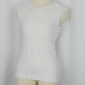 Calvin Klein cap sleeve lace top (size small)